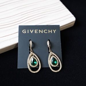 Givenchy Crystal Earrings - Gold Tone Forest Green